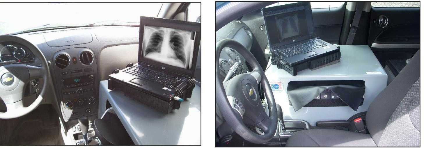 Portable and mobile CR scanner Installation to vehicle